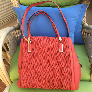 COACH MADISON GATHERED LEATHER TWIST CORAL
